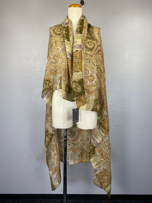 .ETRO SILK100% PAISLEY PATTERNED LARGE SIZE SHAWL MADE IN ITALY/エトロシルク100%ペイズリー柄大判ショール(ストール) 2000000043173