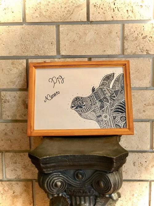 Pigアートボード(ポスター) NA2& original design art board (ブタ・ピッグ)