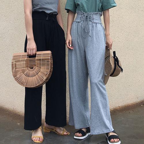 ◎retro high waist wide pants 2349