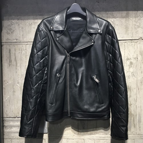 【CHRISTIAN DADA】Quilted Sleeve Leather Motorcycle Jacket
