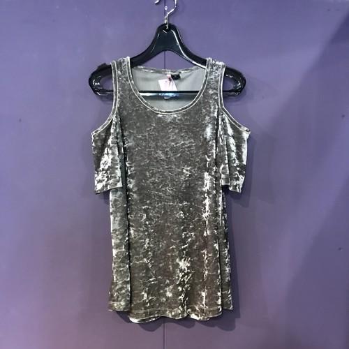 gray velour design tops[B2575]