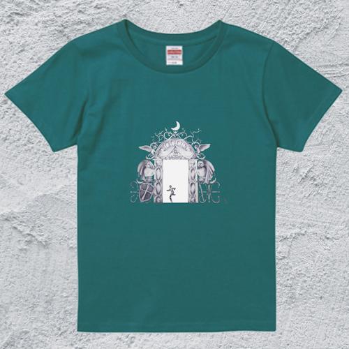豪華すぎる非常口T*レディースアップルグリーン/面白デザイン【色鉛筆アートTシャツ】