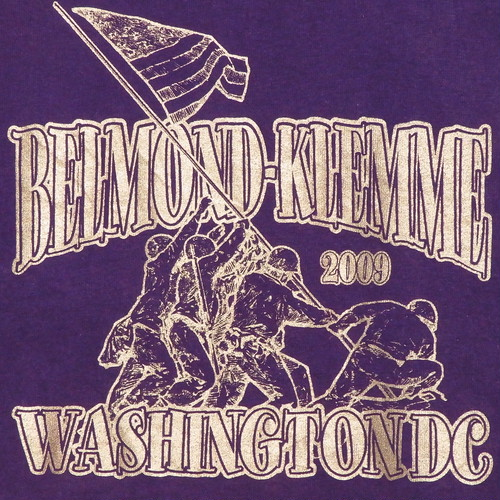 USA古着プリントTシャツM紫BELMOND-KLEMME銀 両面 綿100極美品