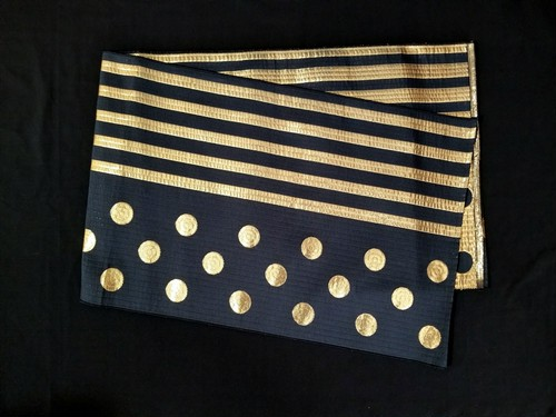 織兵児帯 水玉×ストライプ 黒×ゴールド(リバーシブル)