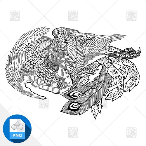 【png画像素材】鳳凰 Mサイズ  横1500px × 縦1041px