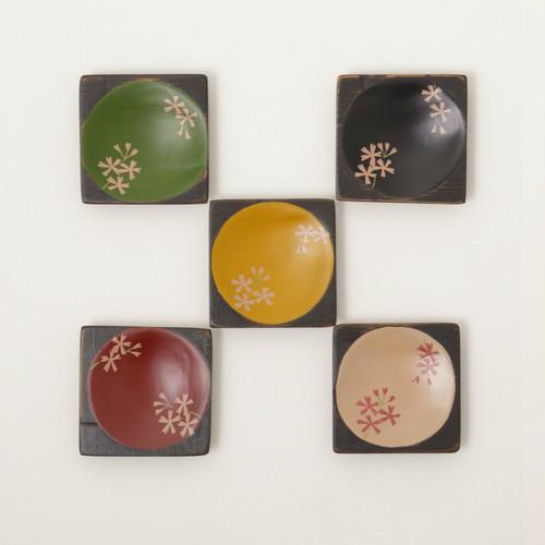 香川漆器 角こまめ皿 「桜」 5枚セット 中田漆木