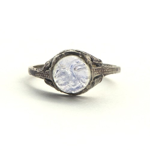 """Man in the Moon"" Moonstone Cameo Ring"