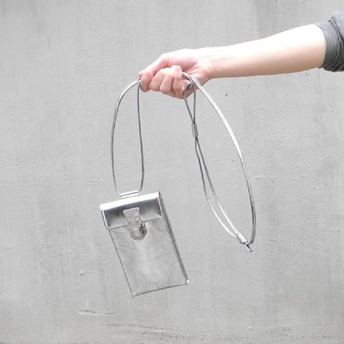 213ABG05 Leather cell phone small bag 'cartable' ショルダーバッグ スマホショルダー/スクラッチシルバー