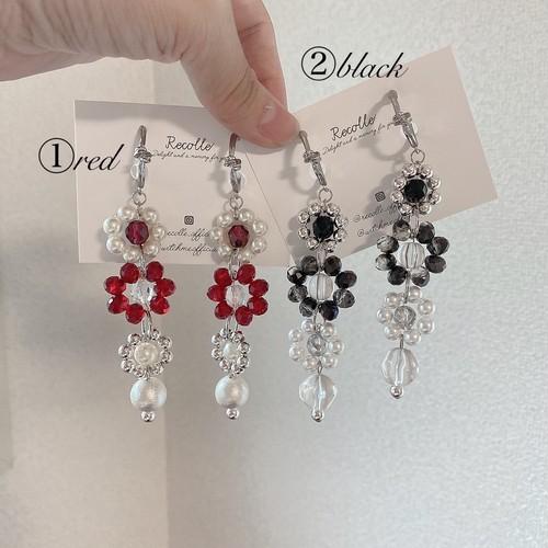 flower petit jewel(red・black)