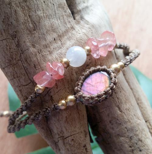 Sunset Labradorite and Rainbow Moonstone Bracelet