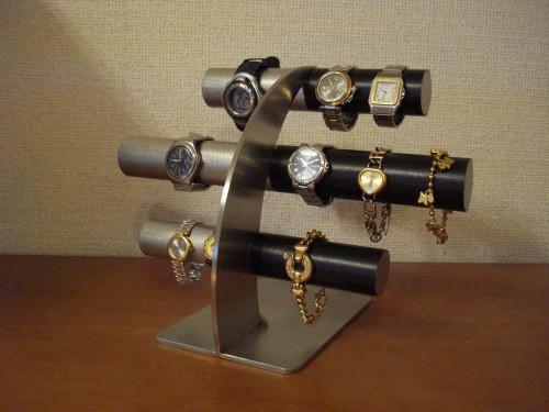 上段、中段は男性用、最下段は女性用14本掛け反り返るデザイン左ステンレス&ブラック腕時計スタンド