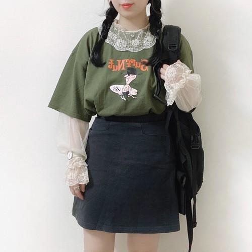 くすみグリーン半袖T[L722-3]