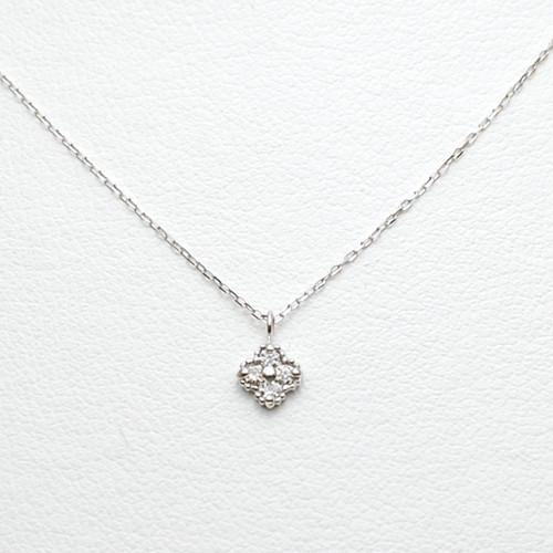 K18WG ダイヤモンド プチネックレス