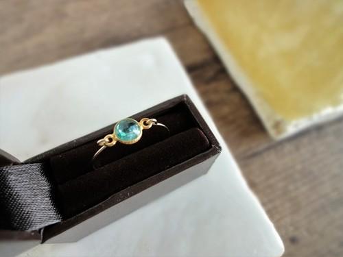 【受注生産】14kgf指輪×silver925 枠の天然石■アパタイト