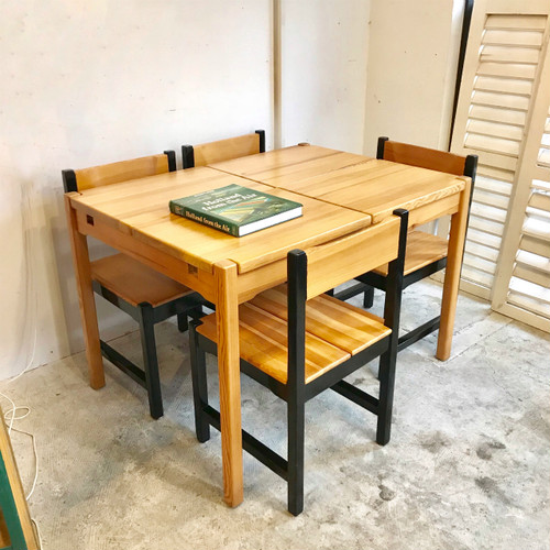 "60's Finnish Pinewood Dining Table & 4 Chair Set  ""Ilmari Tapiovaara Style"" フィンランド"
