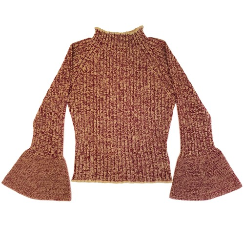 bell sleeve mix yarn knit top / red mix