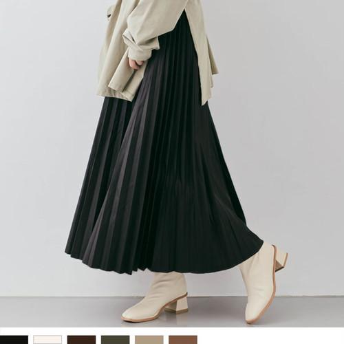 【ハードになりすぎない素材感やシルエットがポイント◎】エコレザーロングプリーツスカート6カラー