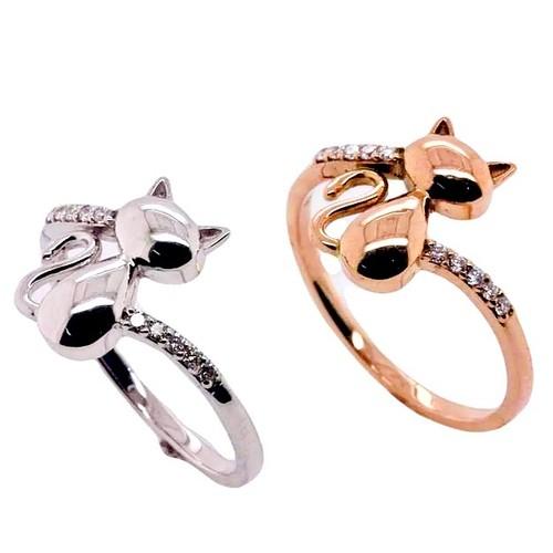 K18 ネコリング 猫 指輪