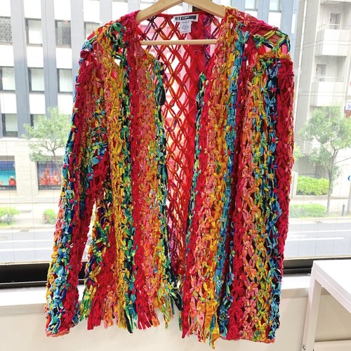 80's colorful cotton yarn jacket