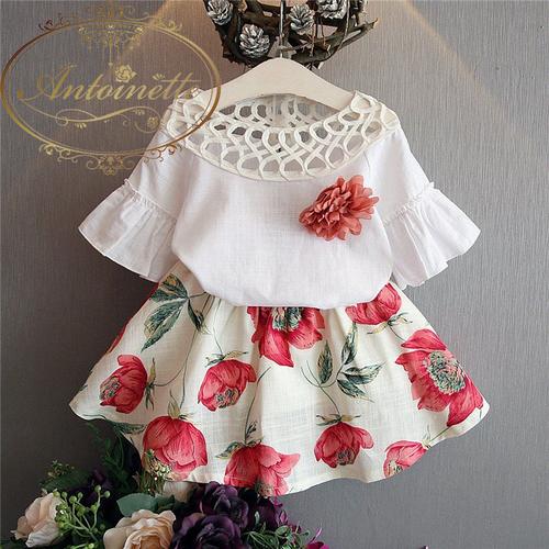 オーガンジー ネック 子供服 おんなのこ こども ベビー 赤ちゃん 秋 半袖 可愛い セットアップ 花柄