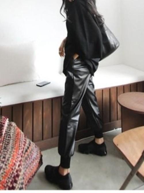 起毛レザージョガーパンツ レザーパンツ ジョガーパンツ 韓国ファッション