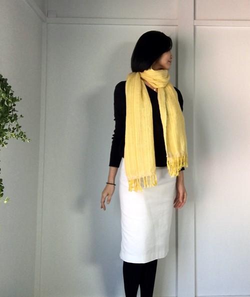 """【ベビーアルパカ&綿:オールシーズン】ユニセックス:手織りストール """"Yellow & White"""""""