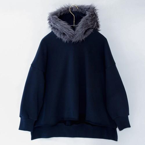 《michirico 2020AW》Fur hoodie / black / L・XL・XXL