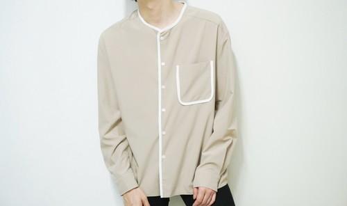 white line  beige shirt