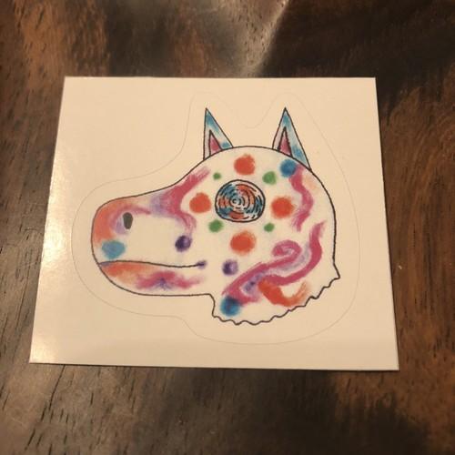 9月犬神ステッカー 水玉カラフル