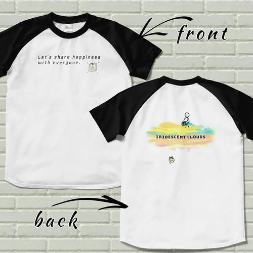 両面プリントラグランTシャツ【iridescent clouds】ブラック×ホワイト