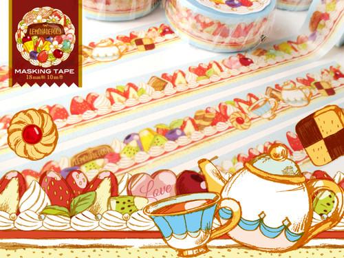 ず~っとケーキ柄お茶会マスキングテープ