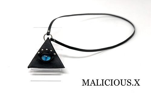 cat eye triangle coin case (mini) / blue