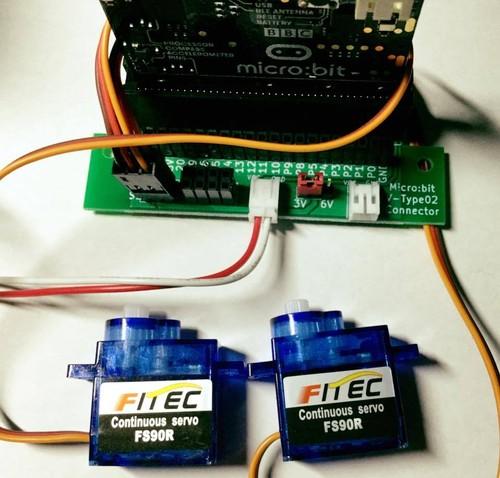 Micro-bit用サーボ拡張コネクタ基板(縦型)