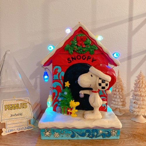 JIM SHORE PEANUTS スヌーピー Snoopy Merry and Bright 置き物 イルミネーション フィギュア ピーナッツ インテリア アメリカ