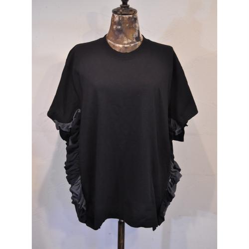 【 RehersalL 】side frill Tshirt(black8) /【リハーズオール】サイドフリルTシャツ(ブラック8)