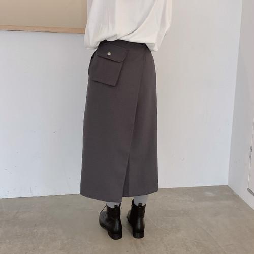 バックポケットラップスカート U3454