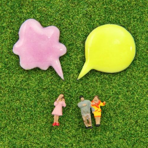 medo / エナメルピン - ふきだし【黄緑&ピンク】