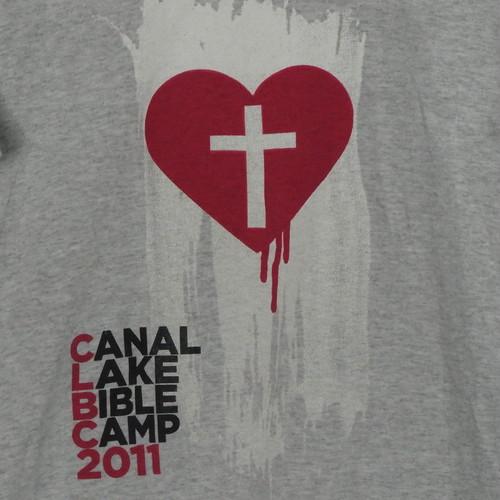 USA古着プリントTシャツL灰色CANAL LAKE BIBLEキャンプ50/50美品