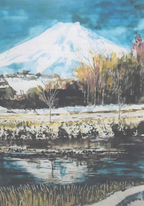 「水彩画ミニアート」富士眺望