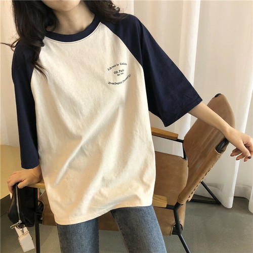 2021夏 配色切り替え 半袖ラウンドネック ins原宿系 Tシャツ・トップス