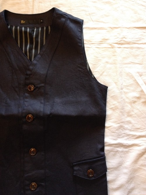 Dress Denim Tailor Vest (Re made in tokyo japan)
