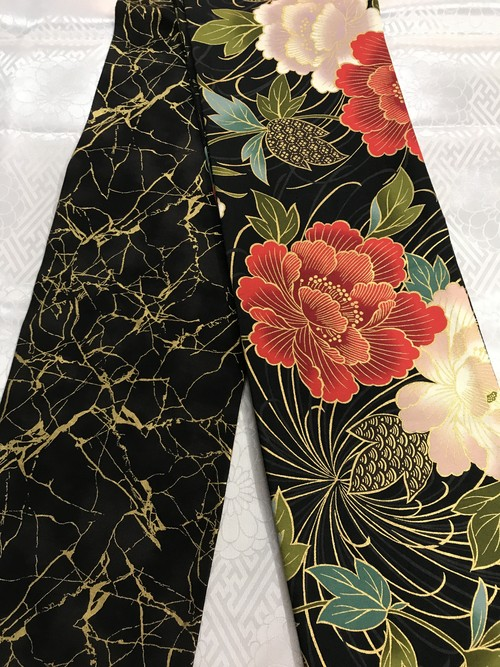 オリジナル花柄半幅帯【黒】