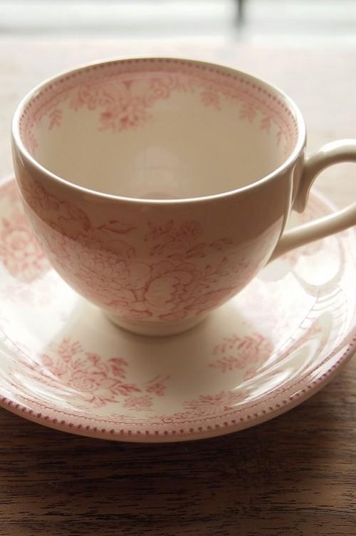 Burleigh(バーレイ)ピンクアジアティックフェザンツ ティーカップ&ソーサー