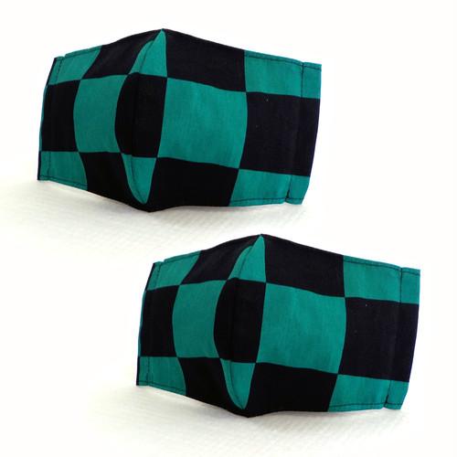 立体マスク ポケット付き 市松模様 緑 黒(柄サイズ5cm) 2枚入り