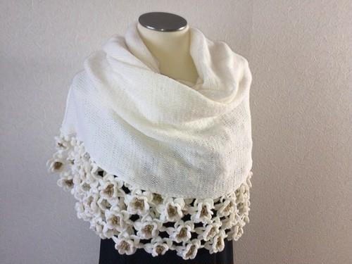 ニットストール ウール100% 白 手編み