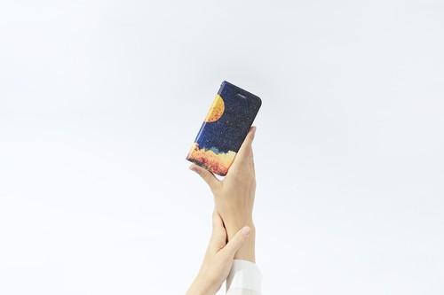 夜空と満月の、手帳型スマホケース