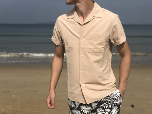 ThreeArrows Open collar shirt(beige)