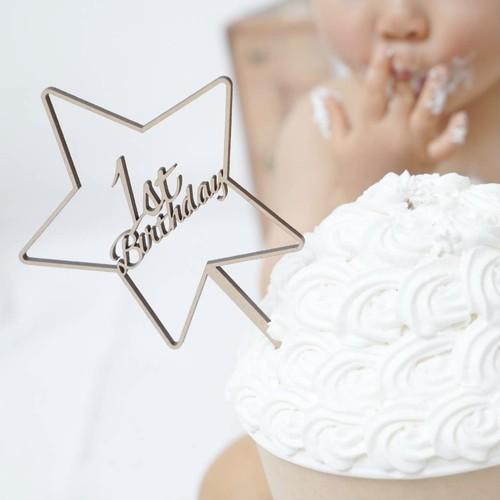 木製 / ケーキトッパー1st Birthday Star [G]
