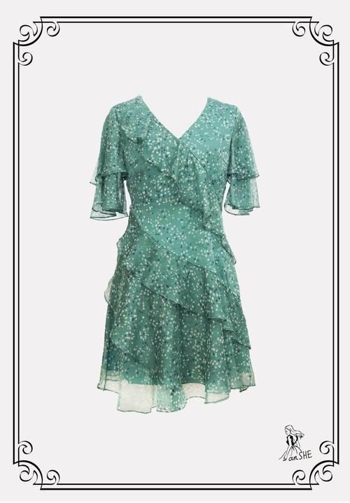 Mini Ruffle Chiffon Dress / ミニ丈フリルシフォンワンピース
