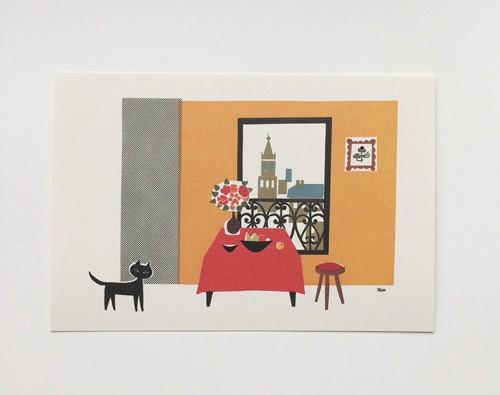 post card / Le chat noir et table rouge
